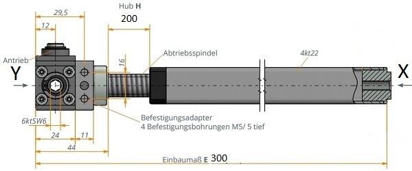 Kegelradgetriebe mit Spindeleinheit 300 / 200 / TR 14x3 rechts
