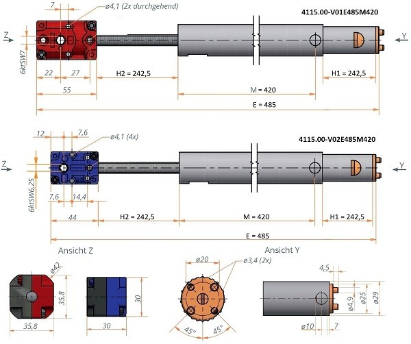 Kegelradgetriebe mit Synchronteleskopspindel