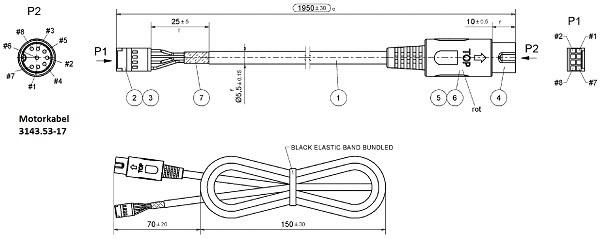 Motorkabel mit 2 Stecker 1950 mm / mit invert power/sensors