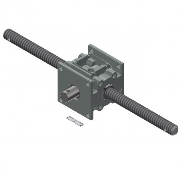 Kegelradgetriebe 10 Nm 1:1 durchgehende Welle Ø 12mm / 2x Spindel TR12x3 RH / 200 mm