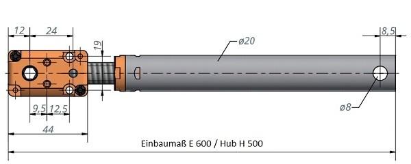 Kegelradgetriebe mit Spindeleinheit Hub 600