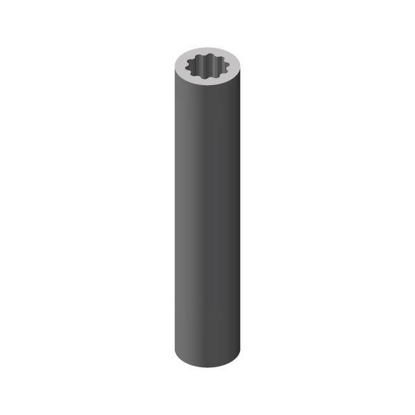 Alu Rohr Vielzahnprofil innen DIN 5480, 10 Zähnen. 1000 mm