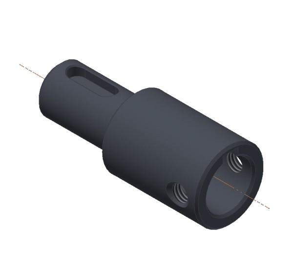 Buchse Aluminium eloxiert Ø 18 mm / Ø 12 mm / Ø 12 mm / M5 / 45 mm