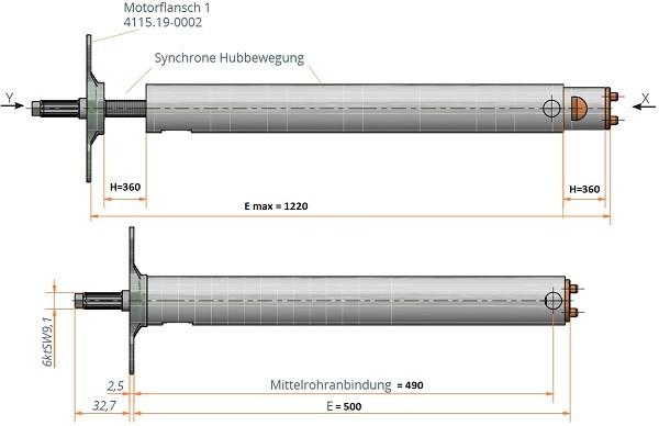 Synchronteleskop-Spindeleinheit mit Motoradapter l Einbaumaß 500mm