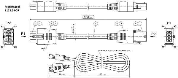 Motorkabel 1750mm mit invert power/sensors