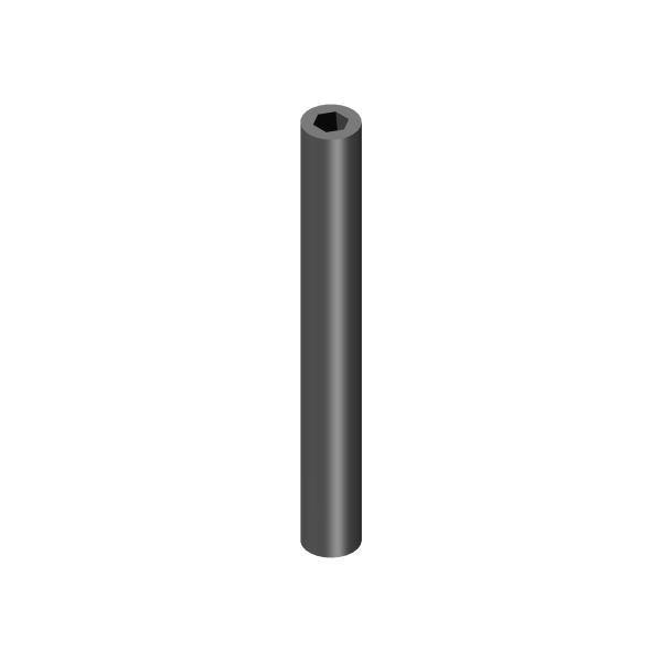 Profilrohr außen rund, innen 6 kant Aluminium Ø 12 mm / 6 kant SW 6,25 / 1000 mm