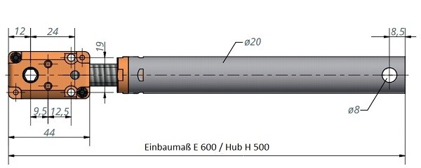 Kegelradgetriebe mit Spindeleinheit 600 / 500 / SG 12x16 P4 rechts / rund Ø 20 mm