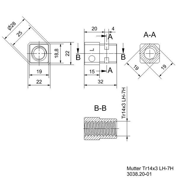 Vierkantmutter mit Trapezgewinde TR14x3 Rechts Zeichnung