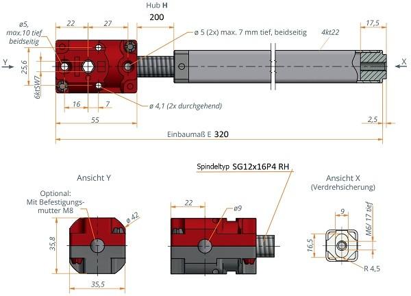 Kegelradgetriebe mit Spindeleinheit 1:1 Hub 200mm