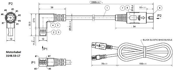 Motorkabel mit 90° Stecker Zeichnung