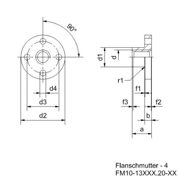 Spindelmutter mit Trapezgewinde TR 10x6 P3 Messing Zeichnung