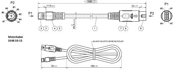 Motorkabel mit invert power/sensors Zeichnung